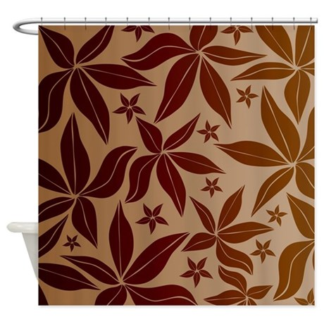 Whimsical Red and Brown Flowers Shower Curtain