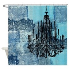 Blue Grunge Chandelier Shower Curtain