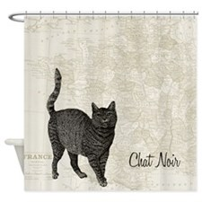 France Map with Cat Shower Curtain
