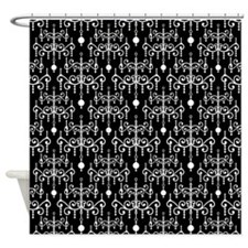 Black and White Chandeliers Shower Curtain