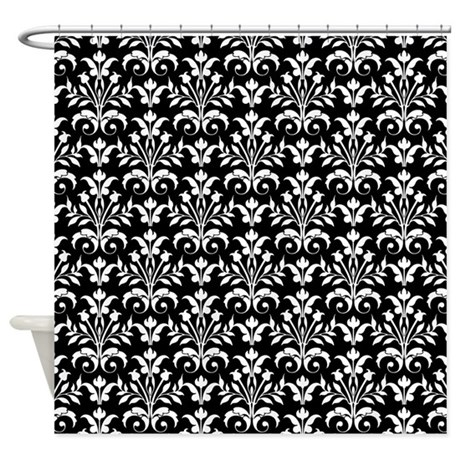 Black And White Damask Shower Curtain black and white floral shower curtain
