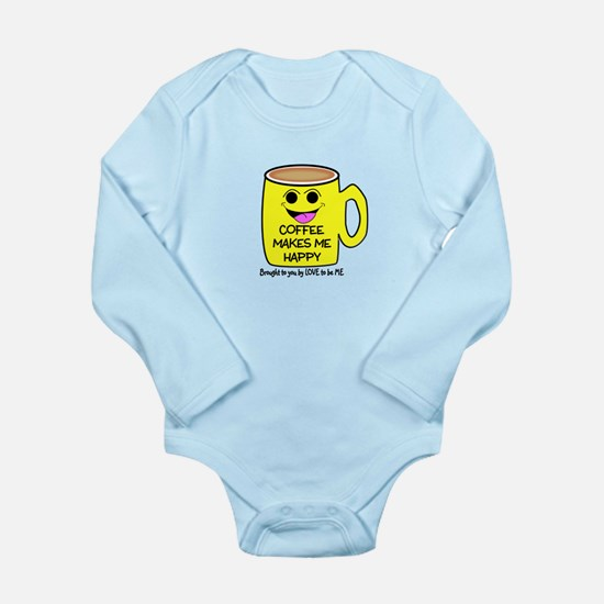 COFFEE MAKES ME HAPPY Long Sleeve Infant Bodysuit