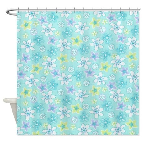 Floral Blue Green Shower Curtain By Jjbeanstalk