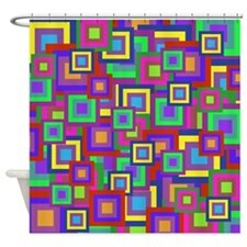 Retro Rainbow Squares Pattern Shower Curtain