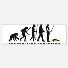 evolution of man with model racing car Bumper Stic