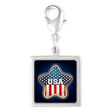 American Star Silver Square Charm