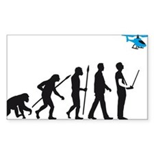 evolution of man with model helicopter Decal