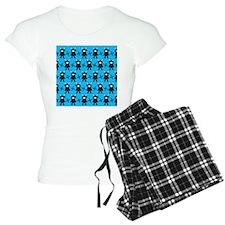 Turquoise Ninja Bunny Pattern Pajamas