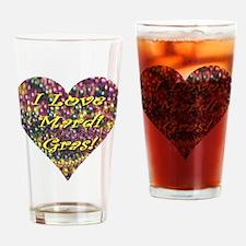 I Love Mardi Gras Bead Heart Drinking Glass