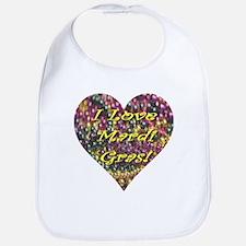 I Love Mardi Gras Bead Heart Bib