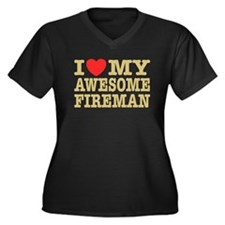 I Love My Awesome Fireman Women's Plus Size V-Neck