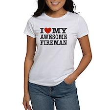 I Love My Awesome Fireman Tee