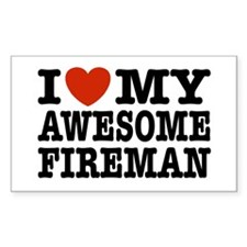 I Love My Awesome Fireman Decal