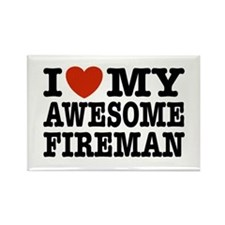 I Love My Awesome Fireman Rectangle Magnet