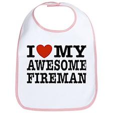 I Love My Awesome Fireman Bib