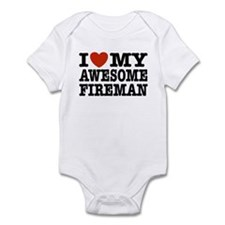 I Love My Awesome Fireman Infant Bodysuit