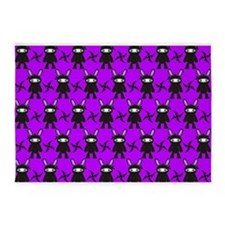 Purple and Black Ninja Bunny Pattern 5'x7'Area Rug