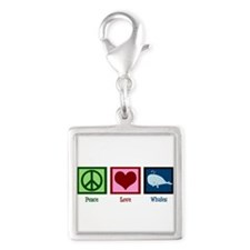 Peace Love Whales Silver Square Charm