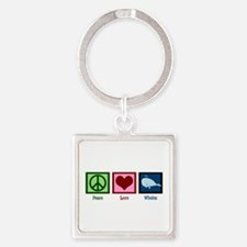 Peace Love Whales Square Keychain