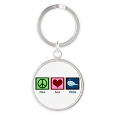 Peace Love Whales Round Keychain