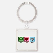 Peace Love Rams Square Keychain