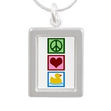 Peace Love Ducks Silver Portrait Necklace