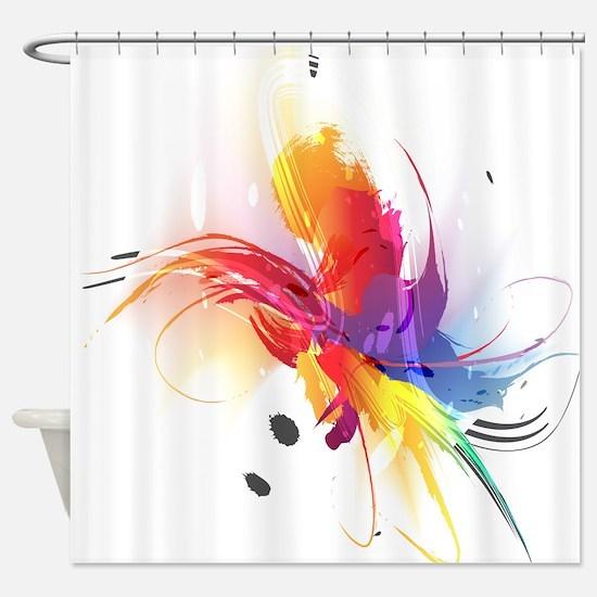 Abstract Paint Splatter Shower Curtain