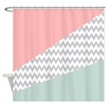 Coral Mint Green Chevron Abstract Shower Curtain