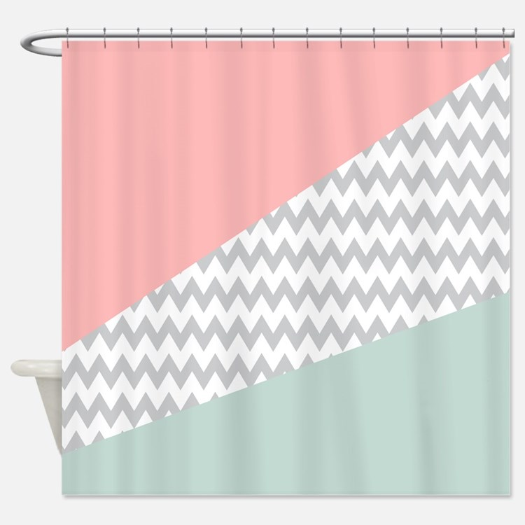 Coral And Mint Shower Curtains Coral And Mint Fabric Shower Curtain Liner