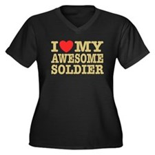 I Love My Awesome Soldier Women's Plus Size V-Neck