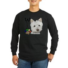 Westie Dog and Paw Print Design Long Sleeve T-Shir