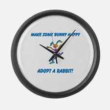 Adopt a Rabbit Month Large Wall Clock