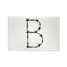 Barbed Wire Monogram B Rectangle Magnet