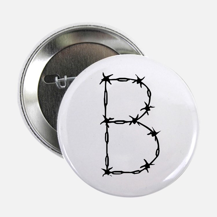 """Barbed Wire Monogram B 2.25"""" Button (10 pack)"""