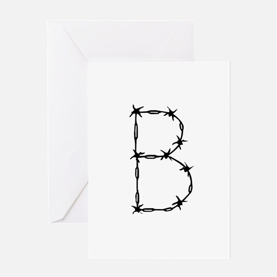 Barbed Wire Monogram B Greeting Card