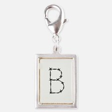 Barbed Wire Monogram B Silver Portrait Charm