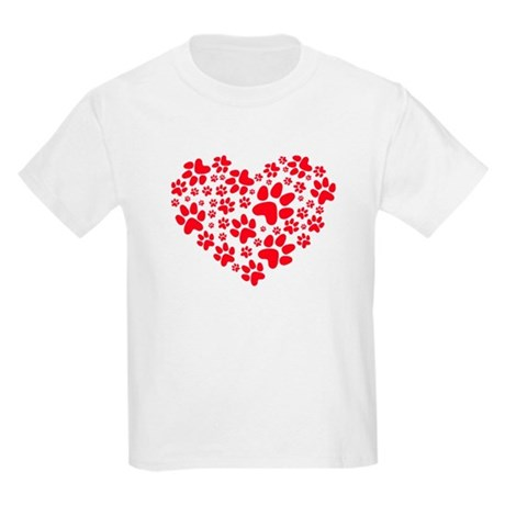 red heart with paws, animal foodprint pattern T-Sh