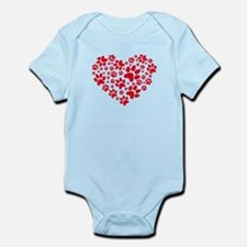 red heart with paws, animal foodprint pattern Body