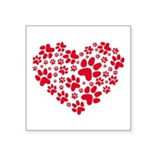 red heart with paws, animal foodprint pattern Stic