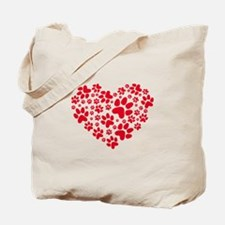 red heart with paws, animal foodprint pattern Tote