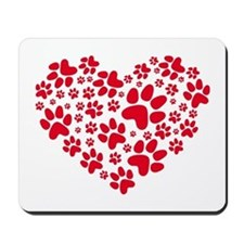 red heart with paws, animal foodprint pattern Mous