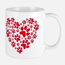red heart with paws, animal foodprint pattern Small Small Mug