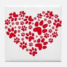 red heart with paws, animal foodprint pattern Tile