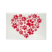 red heart with paws, animal foodprint pattern Rect