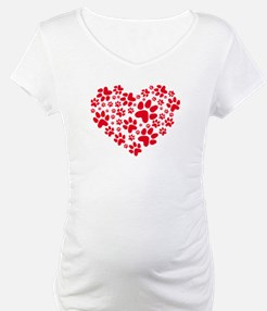 red heart with paws, animal foodprint pattern Mate