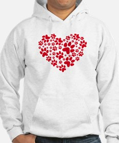 red heart with paws, animal foodprint pattern Hood