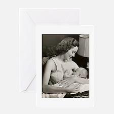 50s nursing mom B Greeting Cards