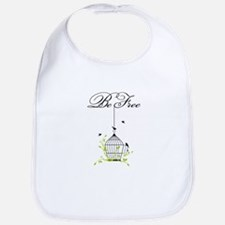be free, open birdcage with birds and branches Bib