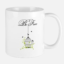 be free, open birdcage with birds and branches Mug