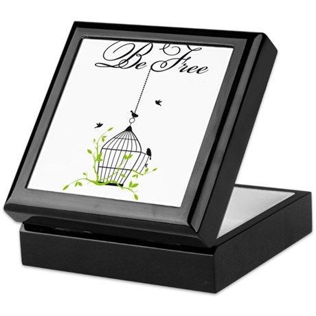 be free, open birdcage with birds and branches Kee